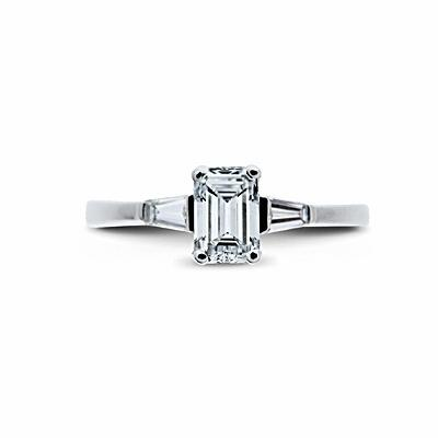 Emerald Cut & Tapered Baguette Engagement Ring 0.45ct